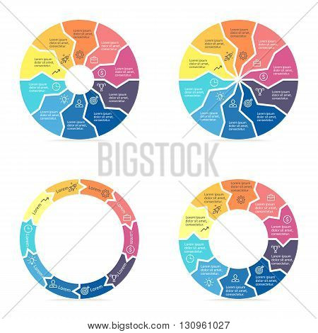 Circular arrows for infographics. Chart, diagram with 10 steps, parts. Vector templates.