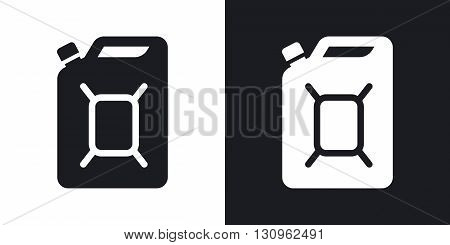 Vector jerrycan of fuel icon. Two-tone version on black and white background