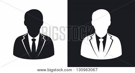 Vector user icon of man in business suit. Two-tone version on black and white background