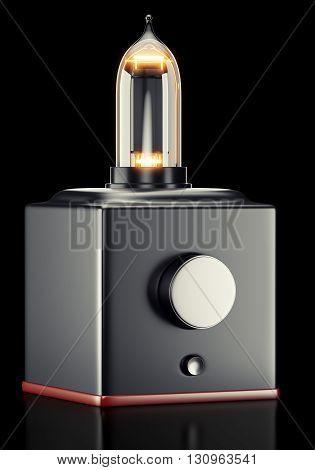 Tube amplifier on black background. 3d rendering