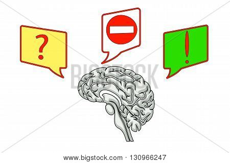 brain illustration with icons of questions and ideas