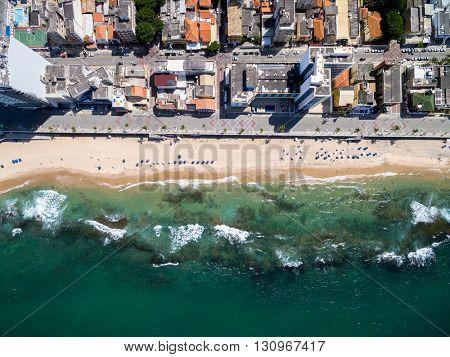Top view of Porto da Barra beach in Bahia, Brazil