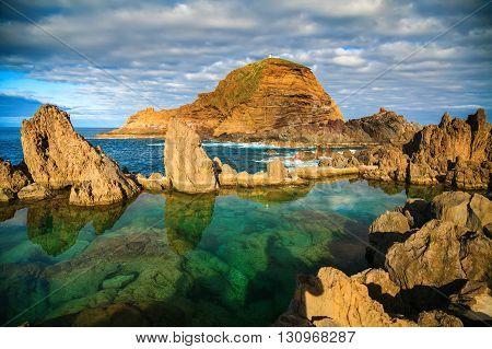 natural swimming pools of volcanic lava in Porto Moniz Madeira island Portugal