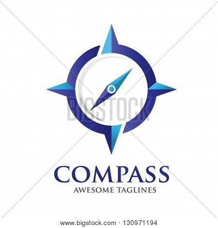 Compass Vector Logo Design Template. Modern Concept For Travel, Tourism