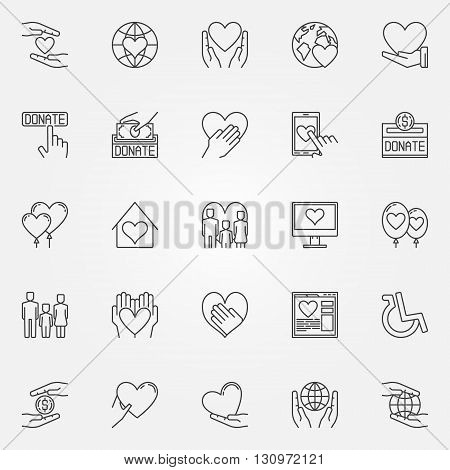 Charity thin line icons - vector collection of charity and donation symbols or logo elements in linear style