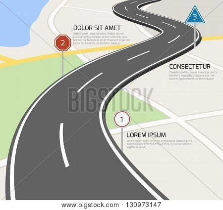 Road vector infographic. Infographic road, information road, plan road illustration