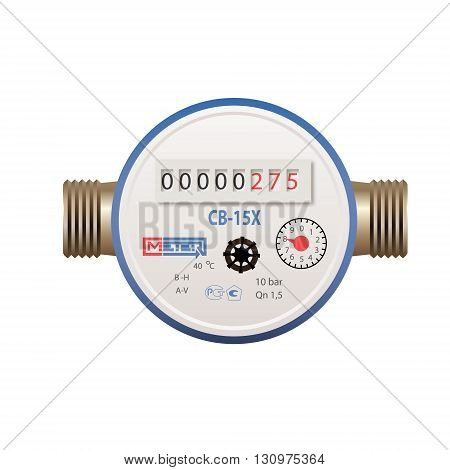 Photorealistic vector water meter on white background