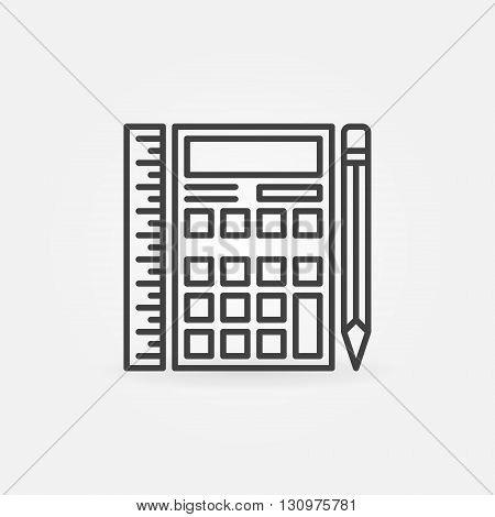 Calculator with ruler and pencil icon - vector thin line math symbol or logo element. Calculator linear concept sign