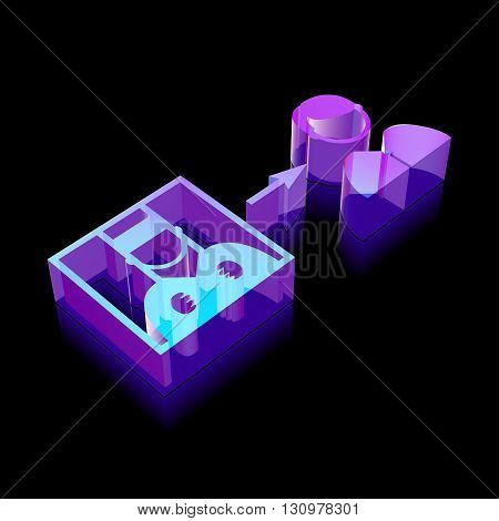 Law icon: 3d neon glowing Criminal Freed made of glass with reflection on Black background, EPS 10 vector illustration.