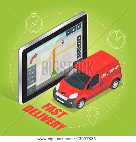 Geolocation gps navigation touch screen tablet and Fast delivery service.  Fast shipping,  express delivery,  free delivery,  fast delivery icon. Flat 3d vector isometric illustration