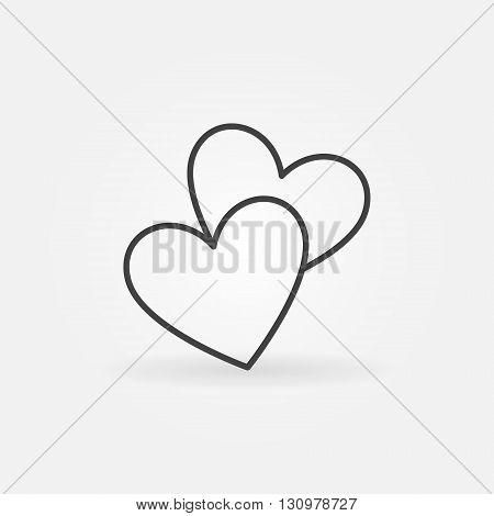 Two Hearts Line Icon Vector Vector En Foto Bigstock