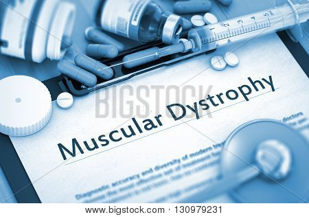 Muscular Dystrophy - Medical Report with Composition of Medicaments - Pills, Injections and Syringe. 3D.