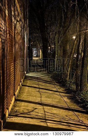 Dark Urban Sidewalk at Night