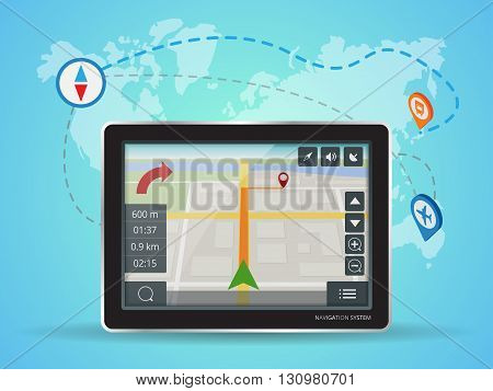 Geolocation gps navigation touch screen tablet. World Map. Mobile GPS Navigation. Tablet PC. Mobile Technologies Concept.