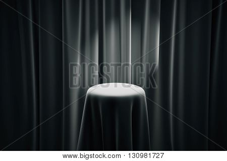 Black magician's table with limelight and curtains in the background. Mock up 3D Rendering