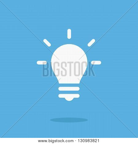 White lightbulb icon. Vector lightbulb pictogram. Vector illustration isolated on blue background