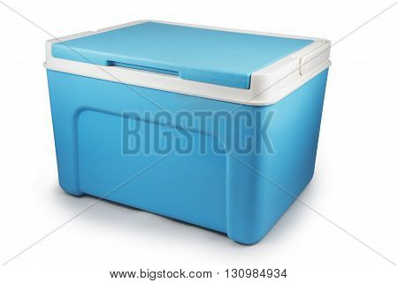 Handheld blue refrigerator isolated over white background.