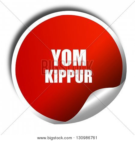 yom kippur, 3D rendering, red sticker with white text