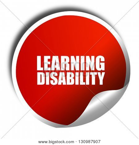 learning disability, 3D rendering, red sticker with white text