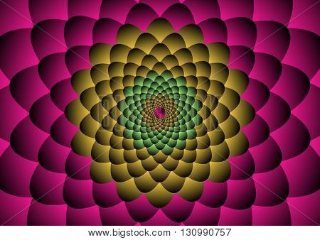Colorful flower Illusion Background Vector Illustration; pink, yellow, green.