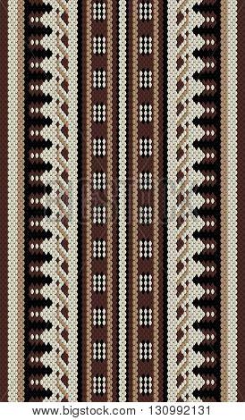 Brown And Beige Arabian Sadu Rug Pattern