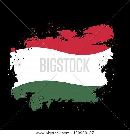 Hungary Flag Grunge Style On Black Background. Brush Strokes And Ink Splatter. National Symbol Of  H