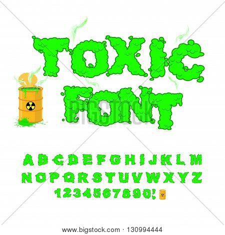 Toxic Font. Green Alphabet Nuclear Waste. Venomous Acid Alphabet. Yellow Barrel With Sign Of Radiati