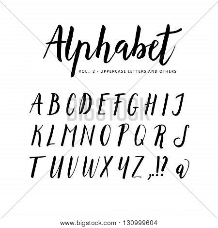Hand drawn vector alphabet. Script brush font. Isolated letters written with marker ink. Calligraphy lettering.