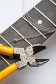 Guitar frets with string and yellow nippers poster