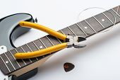 Guitar frets with string mediator and yellow nippers poster