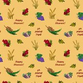 Seven species of the Shavuot agricultural products on Jewish holiday seamless pattern. Vector illustration EPS 10 poster