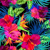 seamless vector pattern with hibiscus palms tropical flowers and leaves. Colorful vibrant art illustrations with amazing details and very intensive colors. Busy allover layout with summer botanical flowers. Design for fashion swimwear interior stationery. poster