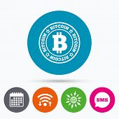 Wifi, Sms and calendar icons. Bitcoin sign icon. Cryptography currency symbol. P2P. Go to web globe. poster