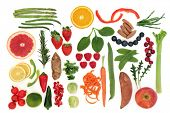 Paleolithic diet health food of fruit and vegetables over white background. High in vitamins, antioxidants, minerals and anthocyanins. poster