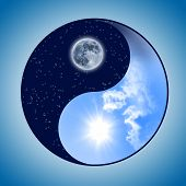 Symbol of yin and yang of the background. The sign of the two elements. poster