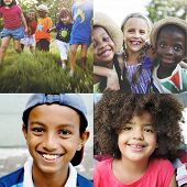 Adolescence Childhood Diversity Ethnicity Friends Concept poster