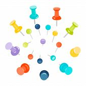 Set of colored push pins on white background. Push pins for maps. Flat push pin clips. Head push pins. Thumbtacks. Pins stationery products. Needles and tacks. Vector illustration. poster