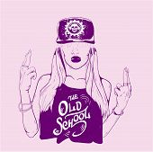 Rap music girl. Pretty Young Urban Rap Girl. Lady Vector artwork. Doodle art isolated on white background. Face emotion illustration. poster