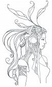Girl in boho style. Coloring page. Vector poster