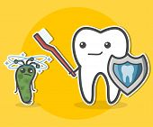 Tooth with toothbrush and shield and prostrate bacterium. Teeth hygiene concept. Dental vector illustration. poster