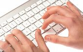 man typing on a keyboard on white background poster