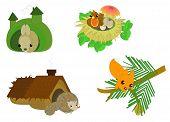 cute cartoon forest animals: hare, bird, hedgehog, squirrel poster