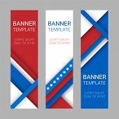 Set of modern vector vertical banners page headers with stripes and stars in the colors of the American flag. Material design banners for Presidents day USA Independence day poster