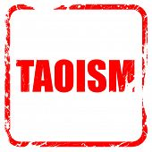 taoism, red rubber stamp with grunge edges poster