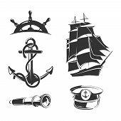 Vector nautical elements for vintage labels. Anchor label, nautical badge, ship nautical, nautical insignia boat illustration poster