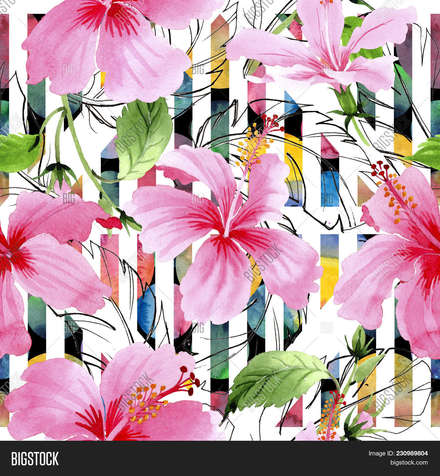 Wildflower hibiscus image photo free trial bigstock wildflower hibiscus pink flower pattern in a watercolor style full name of the plant izmirmasajfo