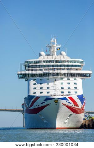 La Rochelle, France - August 22, 2016 : Front View Of Cruise Ship, The Britannia By P & O Cruises An