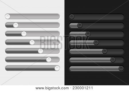 Gray Slider Bars. Settings On Control Panel. Vector 3d Illustration