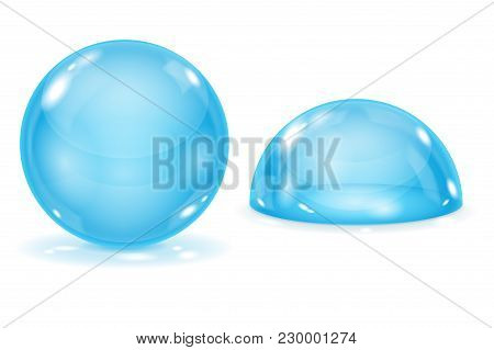 Blue Glass Ball And Blue Dome. A Sphere And Semi-sphere. Vector 3d Illustration Isolated On White Ba