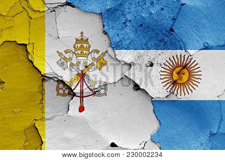 Flag Of Vatican And Argentina Painted On Cracked Wall